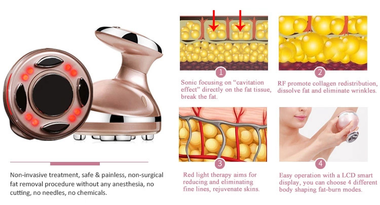 Handheld OEM 4 in 1 Ultrasonic RF  body slimming Device for home use skin care products